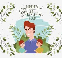 carte de fête des pères heureuse avec des personnages de papa et fils vecteur