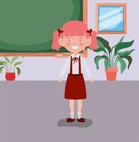 petite fille étudiante dans la salle de classe vecteur