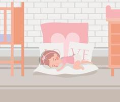 petite fille endormie vecteur