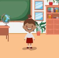 fille étudiante afro dans la salle de classe vecteur