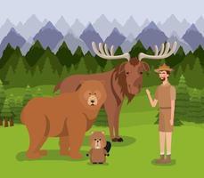 ranger avec des animaux design vecteur