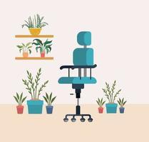 chaise de bureau avec des plantes d'intérieur vecteur