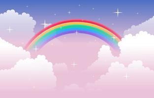 belle illustration de la nature du ciel nuage arc-en-ciel coloré vecteur