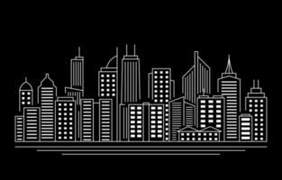 nuit ville urbaine bâtiment paysage urbain illustration de ligne de paysage vecteur