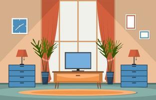 illustration de maison de fenêtre de plante décorative verte vecteur