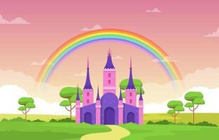château palais arc-en-ciel dans l'illustration de paysage de contes de fées de conte de fées vecteur