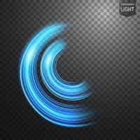 Ligne bleue abstraite de lumière avec des étincelles bleues, sur un fond transparent, isolé et facile à modifier vecteur
