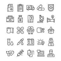 ensemble d & # 39; icônes médicales avec style d & # 39; art en ligne vecteur