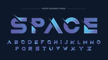 typographie futuriste moderne en tranches violettes vecteur
