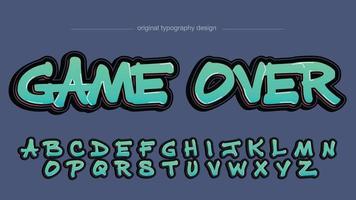 typographie de style graffiti gras vert et rouge vecteur