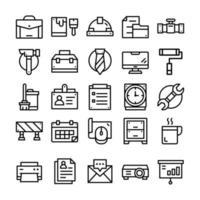 ensemble d'icônes de travail avec style d'art en ligne.