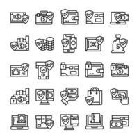 ensemble d'icônes de paiement sécurisé avec style d'art en ligne.