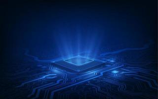 carte de circuit imprimé de fond de processeur de puce de technologie abstraite et code html, vecteur de fond de technologie bleu illustration 3d.