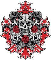 signe gothique avec crâne à cornes, t-shirts design vintage grunge vecteur