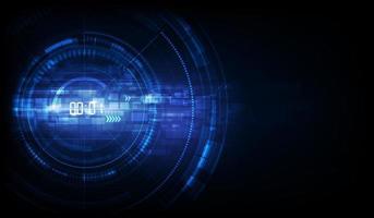 abstrait technologie futuriste avec concept de minuterie numérique et compte à rebours, vecteur transparent