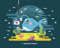 Vecteur de pêche en haute mer