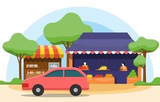 étal de magasin de fruits et légumes au bord de la route dans l'illustration de la ville vecteur
