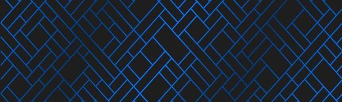 bannière géométrique moderne avec grille bleue. rayures et lignes sur fond noir abstrait. en-tête de conception de luxe. illustration vectorielle simple