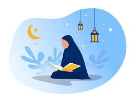 femme lit al coran le jour du ramadan de nuit sur illustrateur de vecteur de fond bleu.