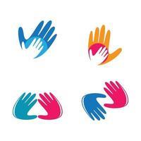 ensemble d'images de logo de main vecteur