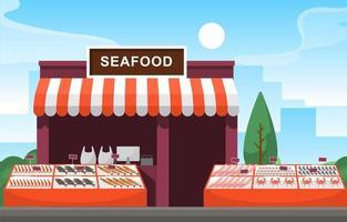 étal de magasin de légumes fruits sains stand épicerie dans l'illustration de la ville vecteur
