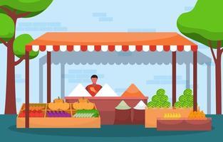 étal de magasin de légumes fruits frais stand épicerie dans l'illustration du marché vecteur