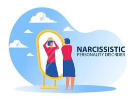 Femme à la recherche sur le miroir elle-même avec des symptômes de trouble de la personnalité narcissique vecteur