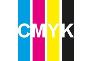 icône d'impression CMJN. quatre lignes en symbole de couleurs CMJN. cyan, magenta, jaune, clé, rayures noires isolés sur fond blanc vecteur