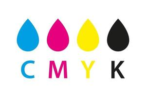 icône d'impression CMJN. quatre cercles en symboles de couleurs CMJN. cyan, magenta, jaune, clé, roues noires isolés sur fond blanc vecteur
