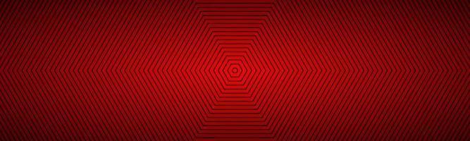bannière octogonale abstraite rouge moderne. l'apparence de l'en-tête en acier inoxydable. lignes octogonales sur fond blanc vecteur