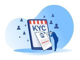 kyc ou connaissez votre client avec entreprise vérifiant l'identité de son concept de clients chez les futurs partenaires grâce à un illustrateur de vecteur en forme de loupe