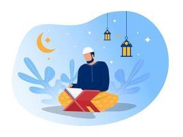 homme lit al quran le jour du ramadan de nuit sur illustrateur de vecteur de fond bleu.