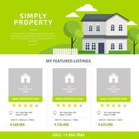 Vecteur de modèle de liste de biens immobiliers