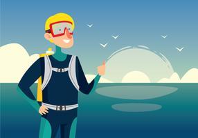 Scuba Diver prêt à plonger vecteur