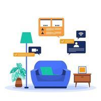 travail à la maison ordinateur internet entreprise en ligne illustration de pigiste vecteur