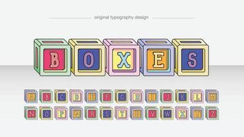 lettres décoratives de cubes de dessin animé coloré vecteur