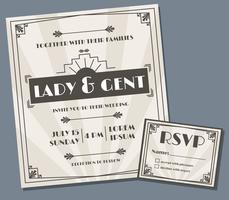 Art déco mariage Invitation Design Vector
