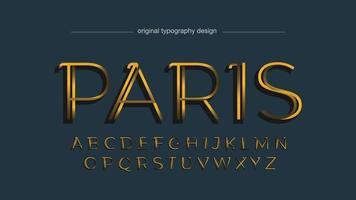typographie isolée fine élégante dorée vecteur