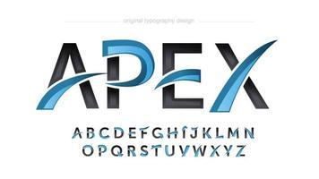 typographie de logo de jeu moderne bleu et noir vecteur