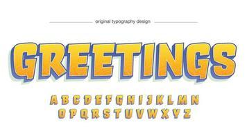 typographie isolée de dessin animé moderne orange et bleu vecteur