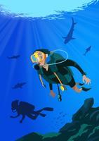 Plongée sous-marine vecteur