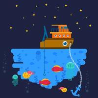 Pêche en haute mer vecteur
