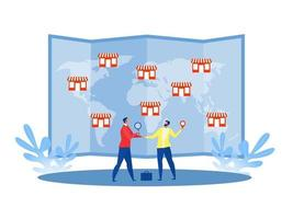 homme d & # 39; affaires offrant une franchise, magasin de réseau commercial à la carte du monde business concept vector illustration plate