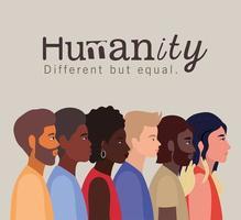 concept d'humanité avec des personnes interraciales vecteur