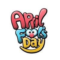 poisson d'avril, style de lettre drôle coloré, illustration vectorielle sur fond blanc vecteur