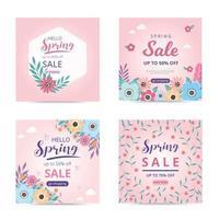 modèle de vente de printemps de collection avec des fleurs de fleurs magnifiques. bannière de vente. publication de médias sociaux de vente de printemps. vecteur