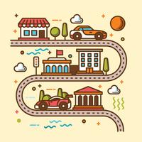 Illustration de la carte routière vecteur