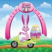 Salutations de Pâques avec lapin sur un scooter transportant un œuf décoré vecteur