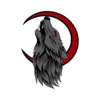 illustration vectorielle tête de loup et lune vecteur