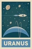 affiche de planète uranus de style rétro et vintage